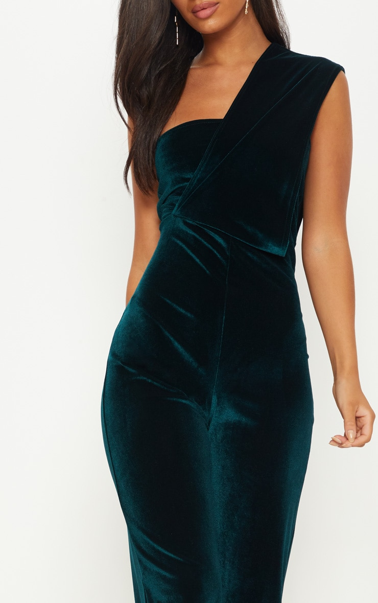 Emerald Green Velvet Drape One Shoulder Jumpsuit 5