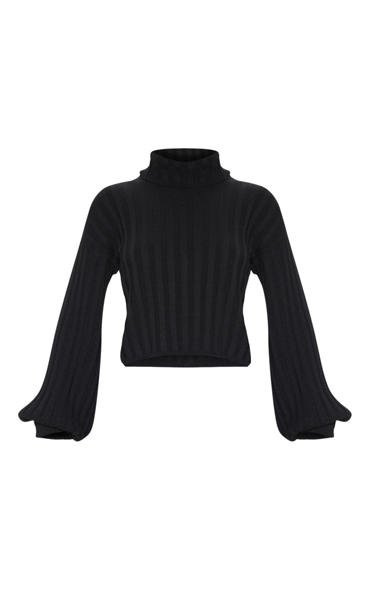 Black Balloon Sleeve Roll Neck Ribbed Sweater 3