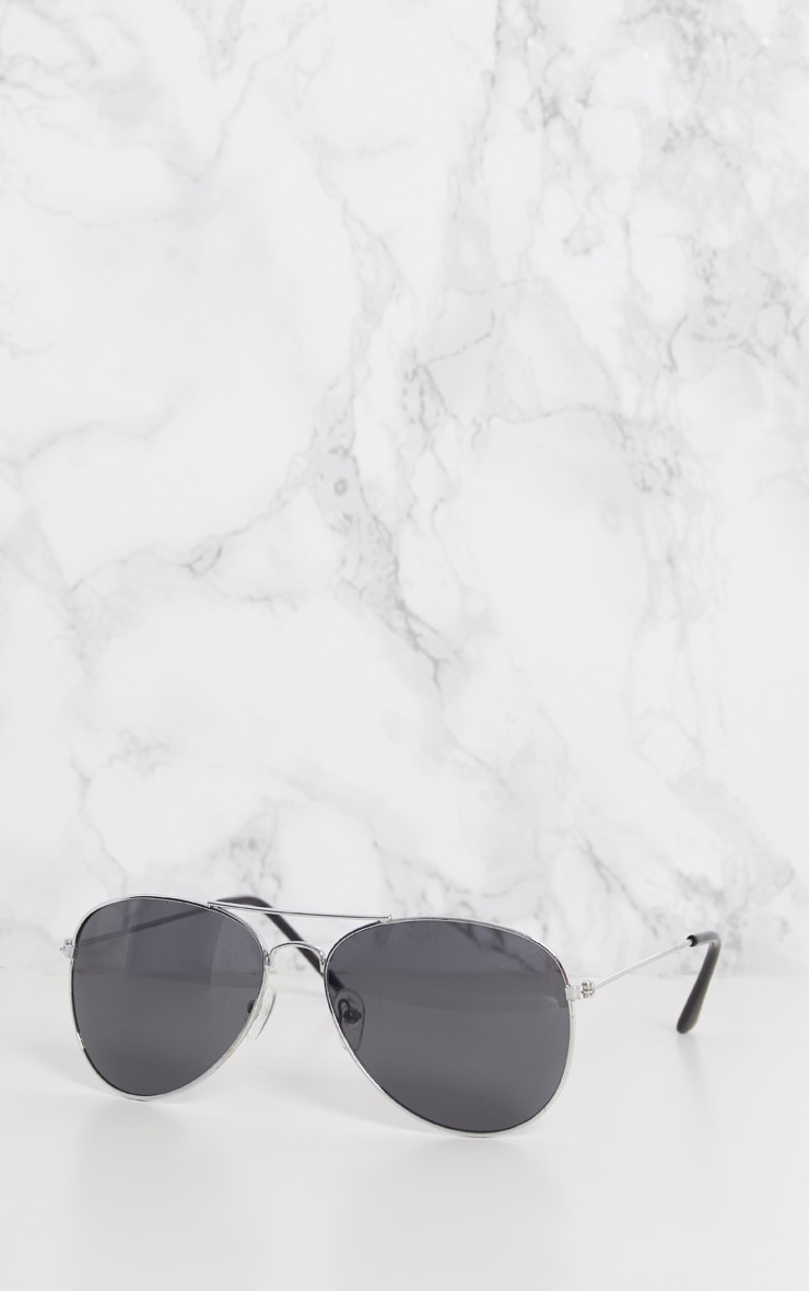 Silver Metal Aviator Sunglasses 3