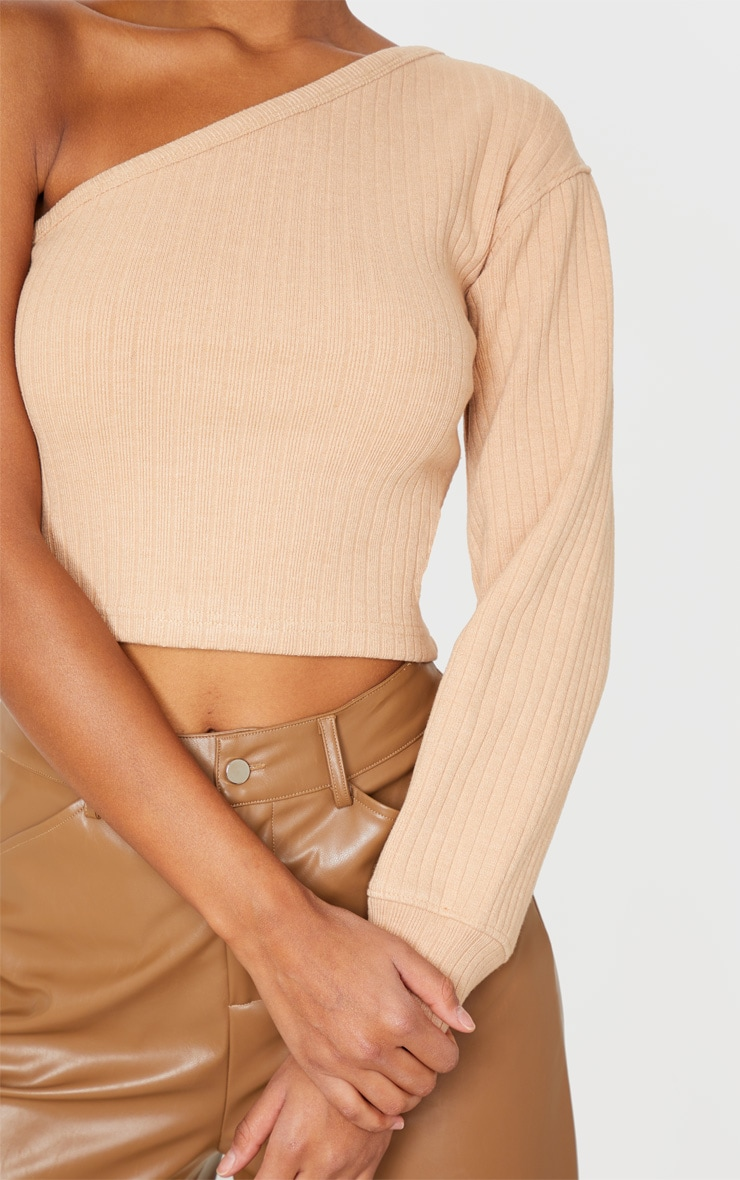 Sand Jumbo Rib One Shoulder Crop Top 5