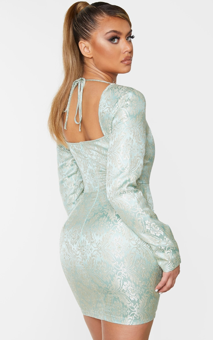 Mint Long Sleeve Jacquard Bodycon Dress 2