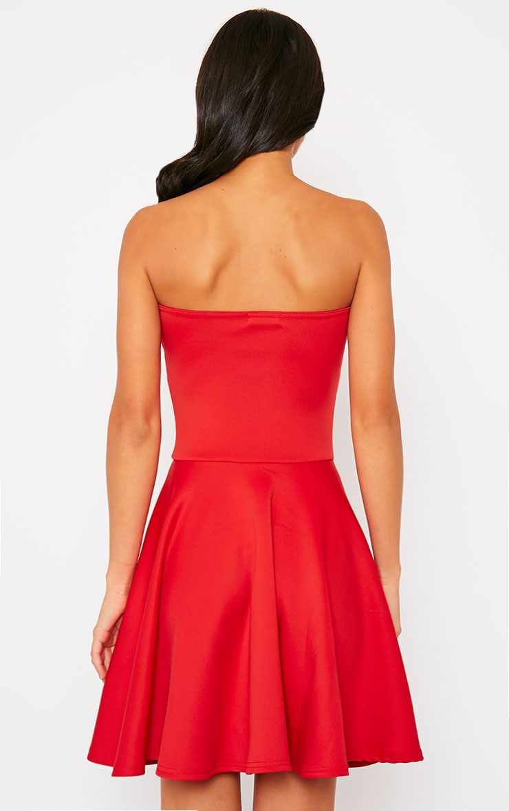 Marissa Red Strapless Skater Dress 2