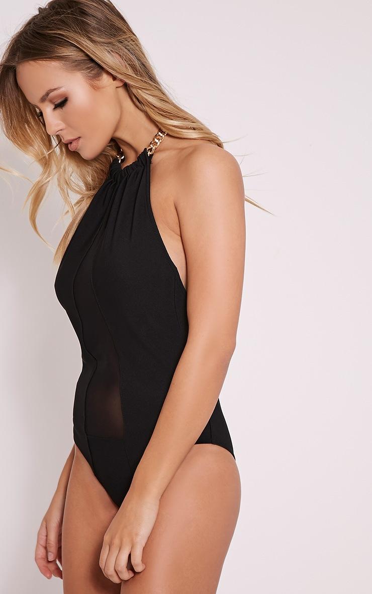Kristen Black Chain Detail Mesh Bodysuit 4