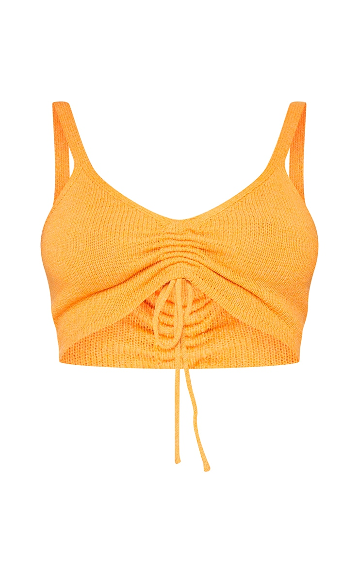 Orange Ruched Front Knitted Cropped Top 5