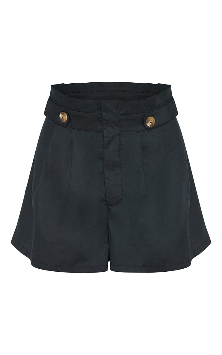 Black Button Detail Pleat Waist Short 3