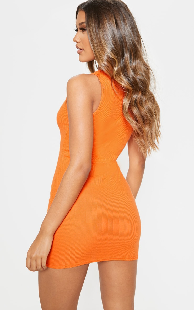Out business orange ribbed bodycon dress stores france