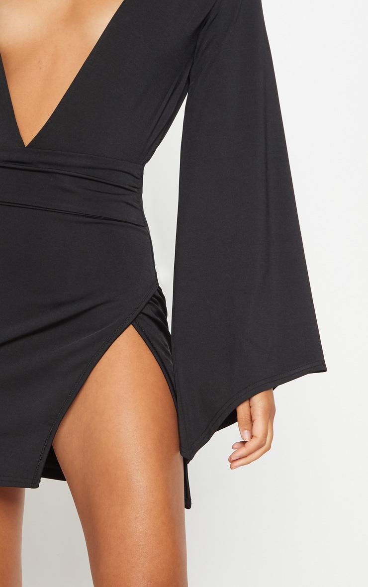 Black Drape Sleeve Plunge Extreme Split Leg Bodycon Dress 5