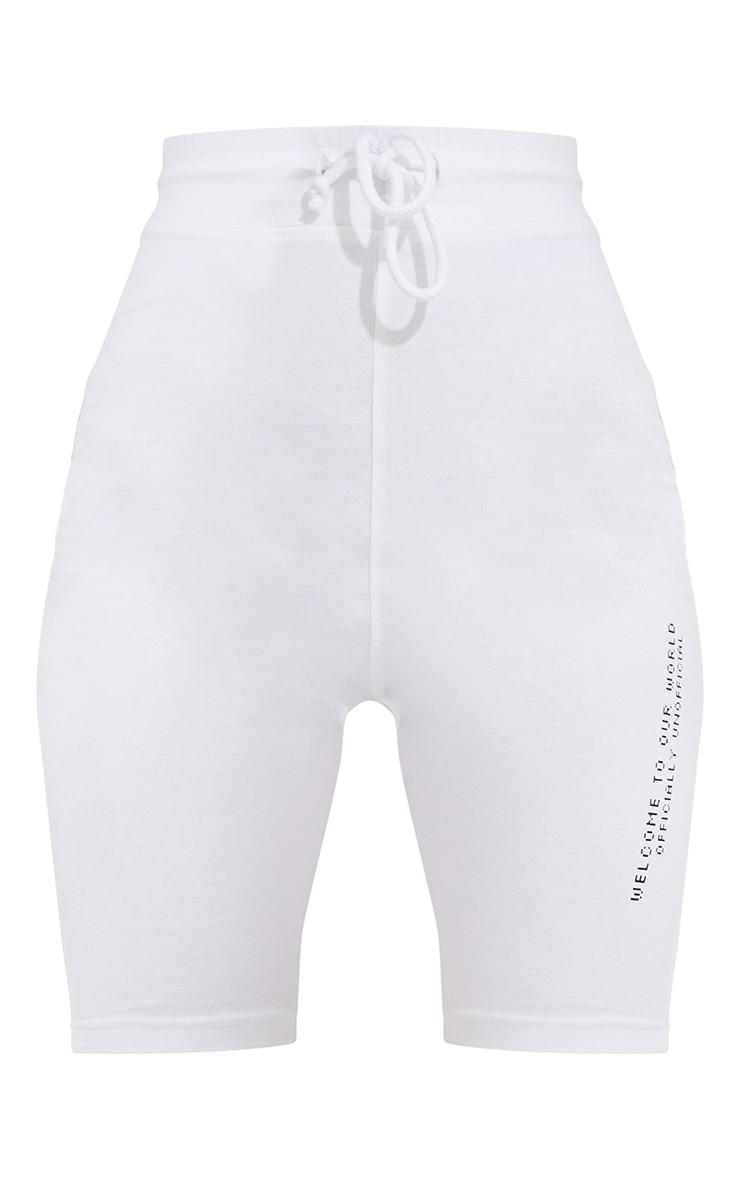PRETTYLITTLETHING White New Season Slogan Bike Shorts 6