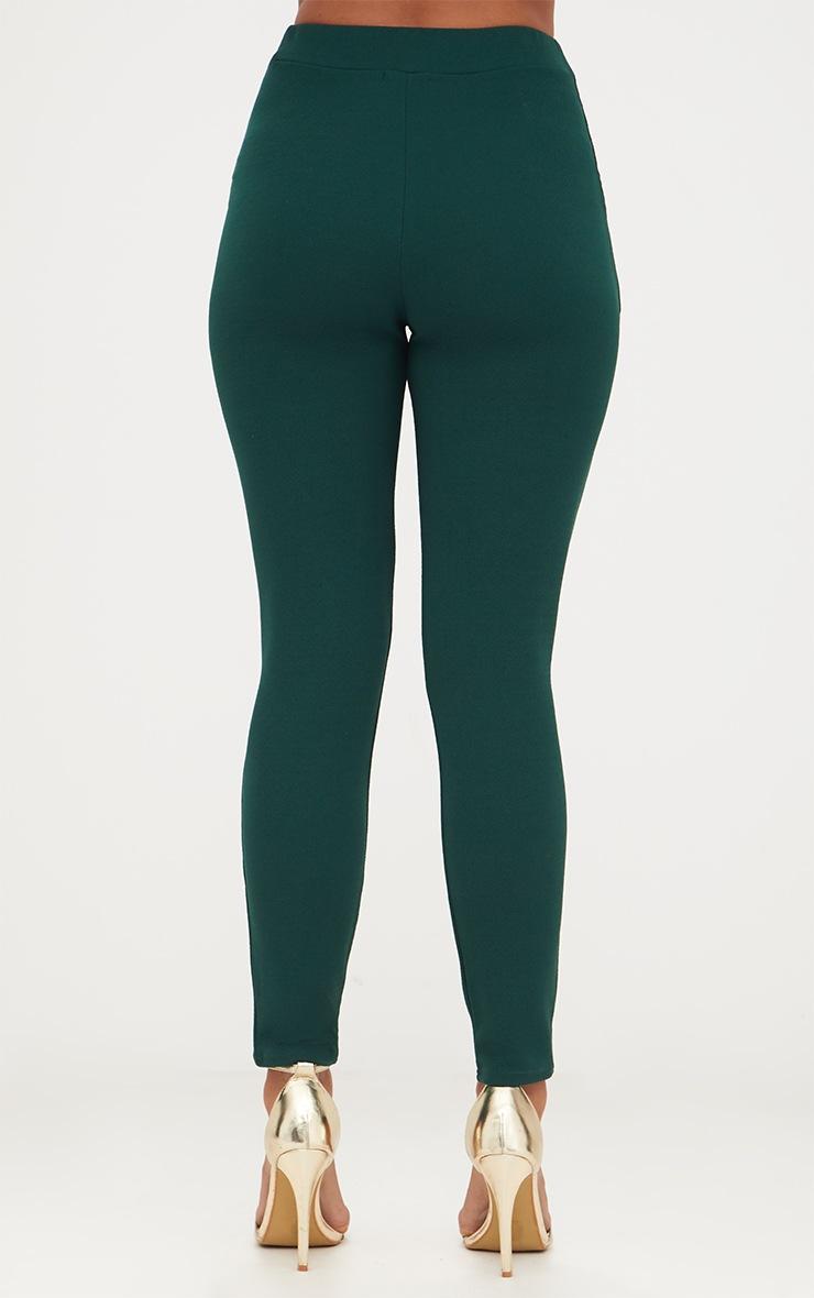 Emerald Green Crepe Skinny Trousers 4