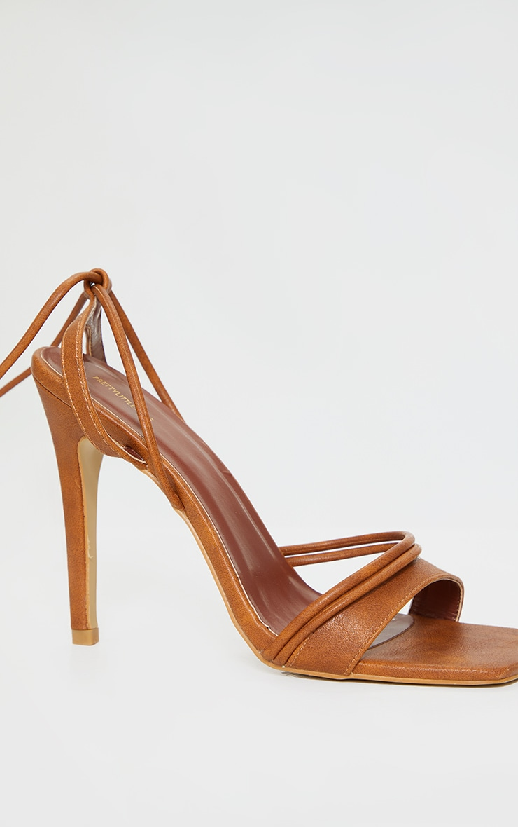 Tan PU Square Toe Lace Up High Heeled Sandals 3