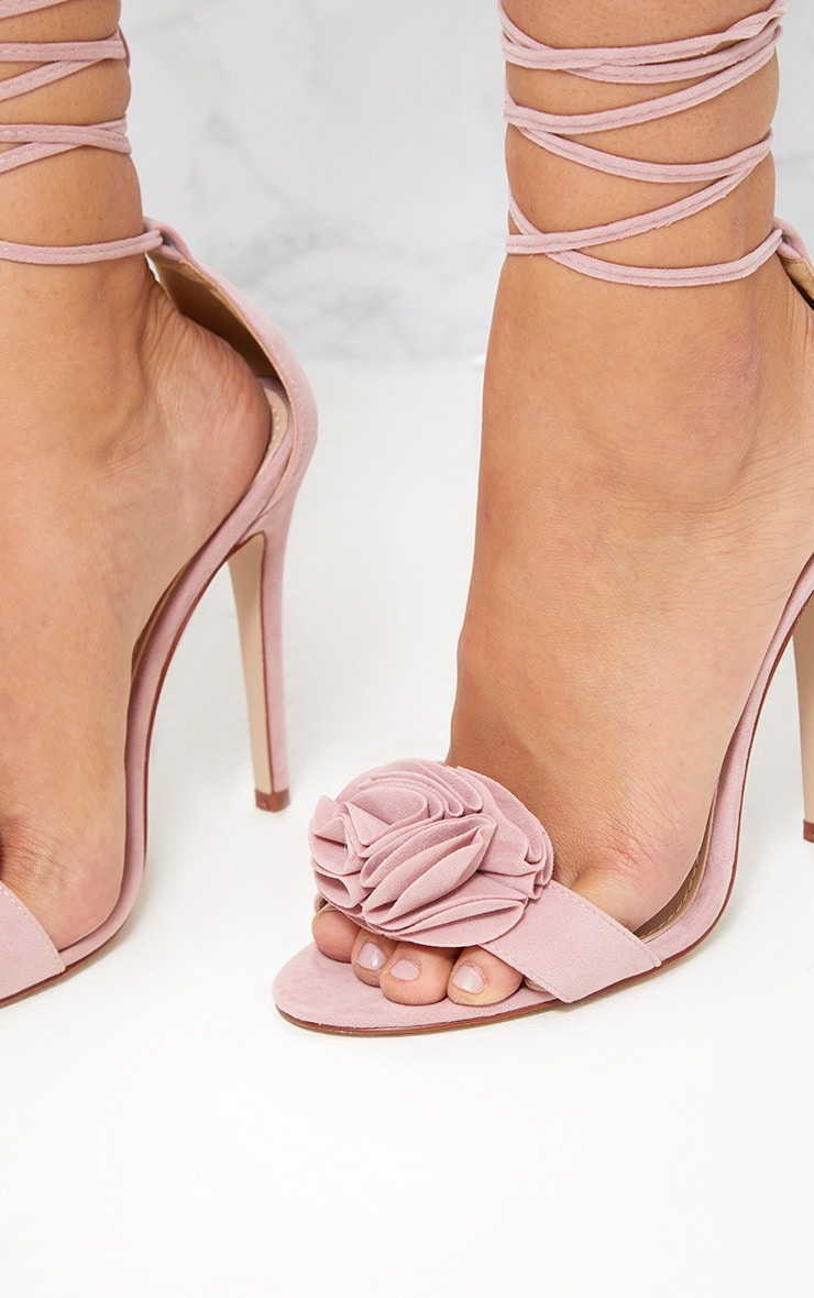 Blush Ruffle Detail Lace Up Heels  3