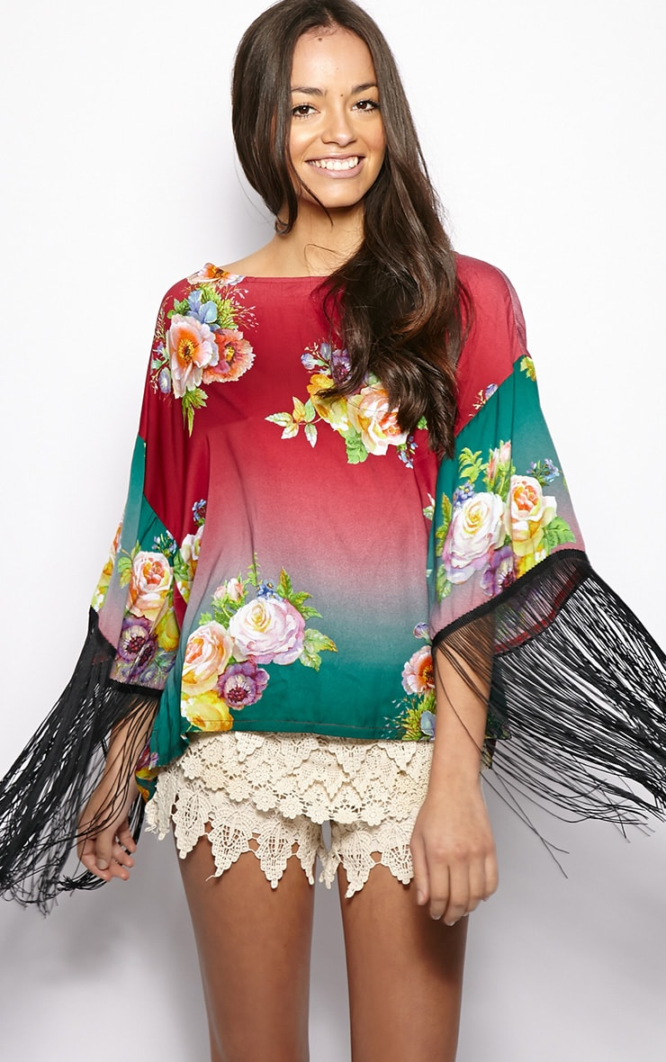 Penelope Green & Red Floral Kaftan Top 1