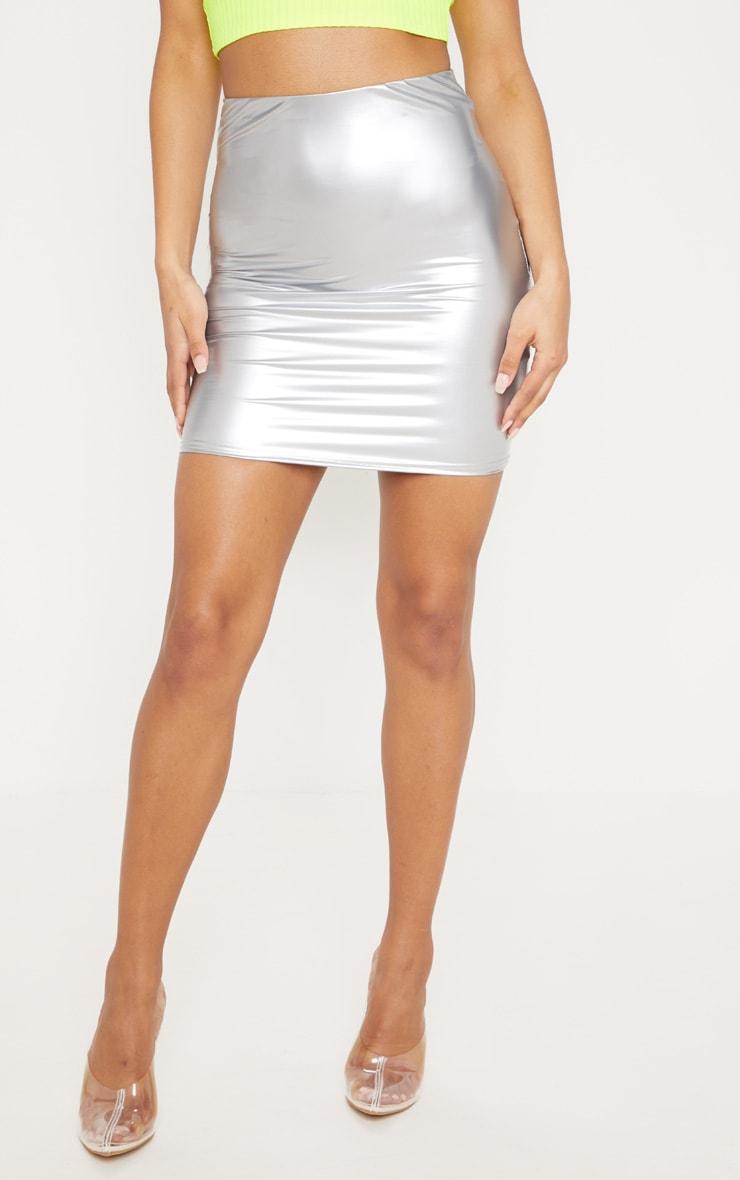 Silver Vinyl Mini Skirt 2