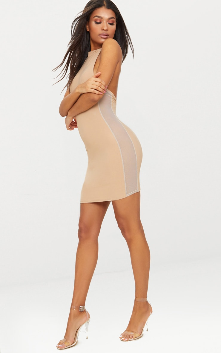 Stone High Neck Mesh Side Bodycon Dress 1