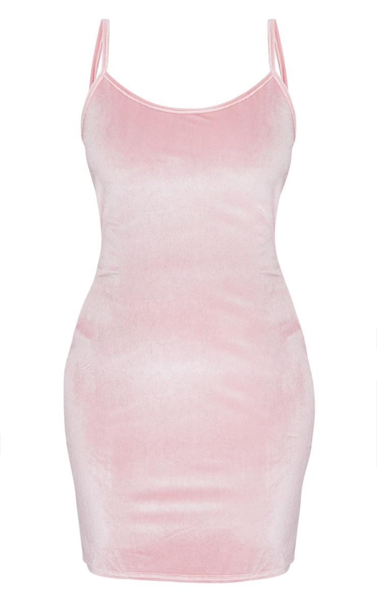 Baby Pink Strappy Velvet Bodycon Dress 3