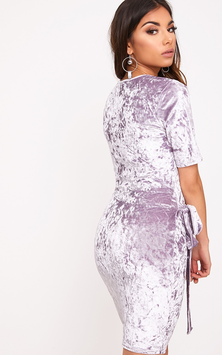 Lula Lilac Crushed Velvet Tie Side T Shirt Dress  2