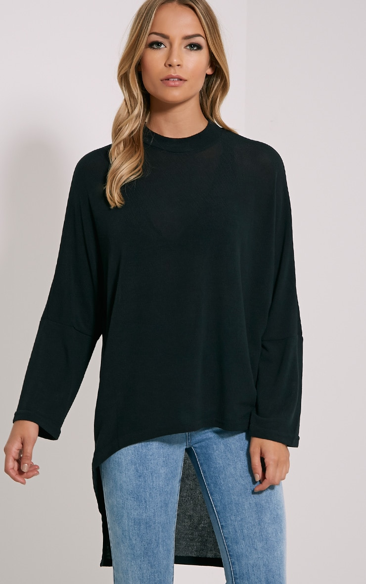 Pryah Black Fine Knit Dip Hem Top 1