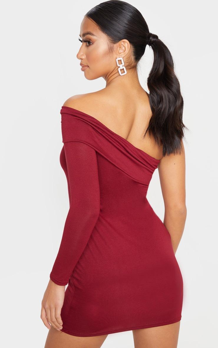 Petite Burgundy Bardot One Shoulder Jersey Bodycon Dress 2