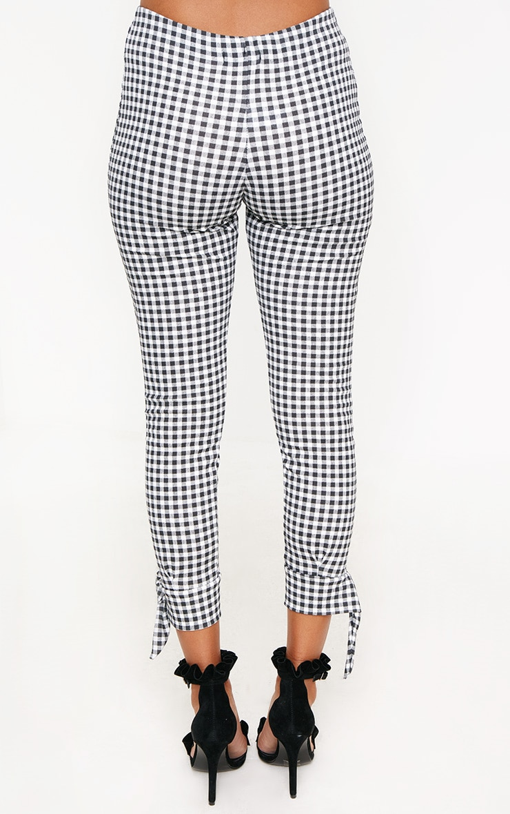 Black Gingham Tie Detail Fitted Trousers 4
