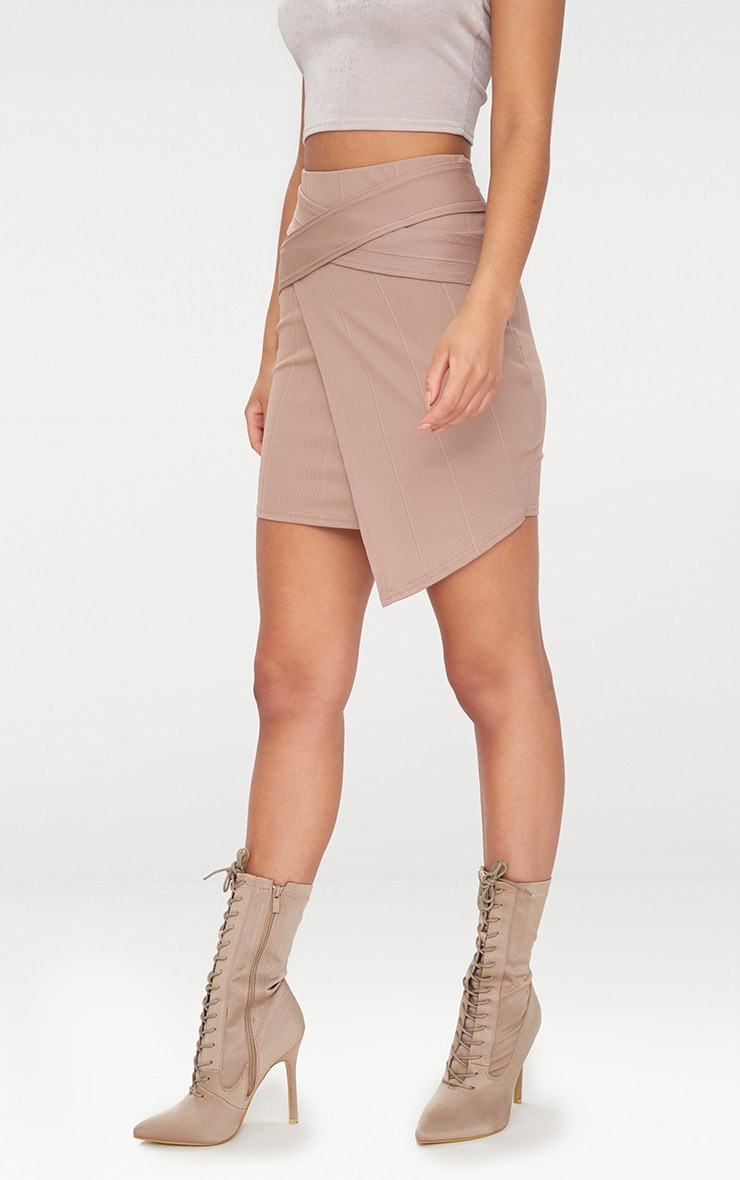 Taupe Bandage Strap Detail Mini Skirt 2