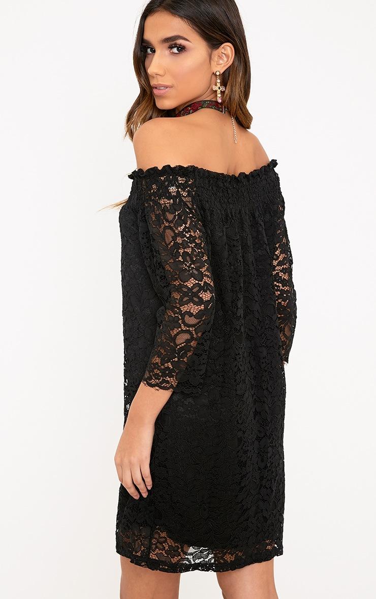 Cora Black Lace Bardot Shift Dress 2