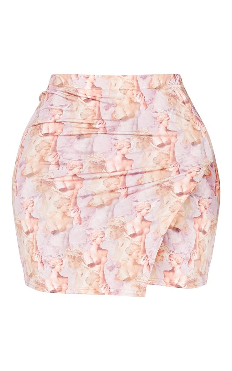 Shape Lilac Renaissance Print Slinky Split Side Bodycon Skirt 6