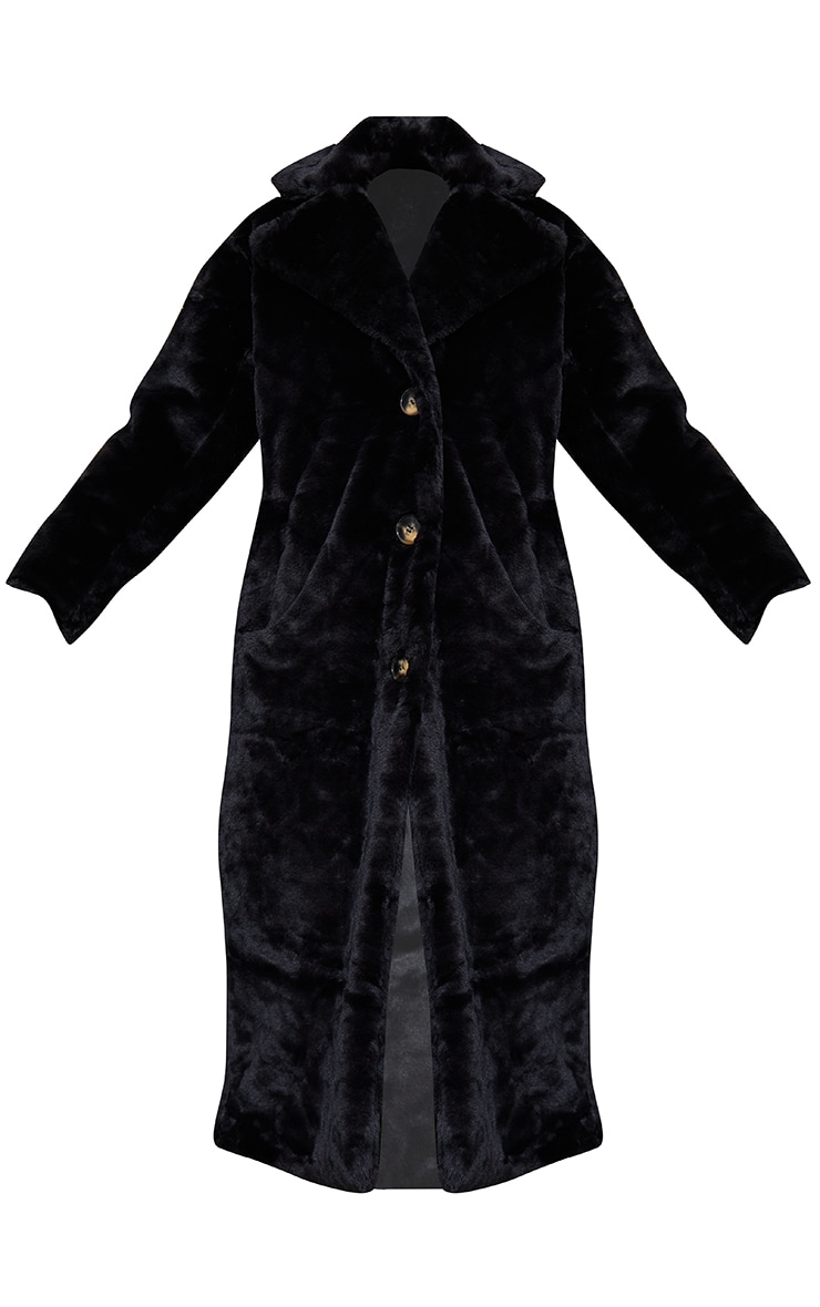 Black Maxi Faux Fur Button Front Coat 5