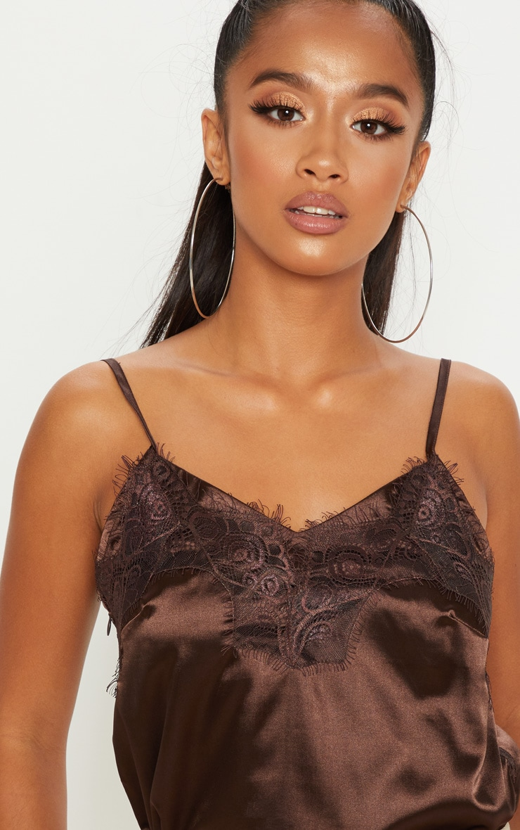 Petite Chocolate Brown Satin Lace Trim Cami Top 4