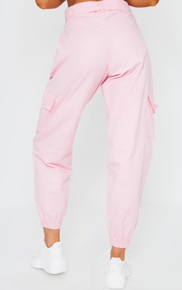 Pink Eyelet Detail Belted Cargo Trousers 3