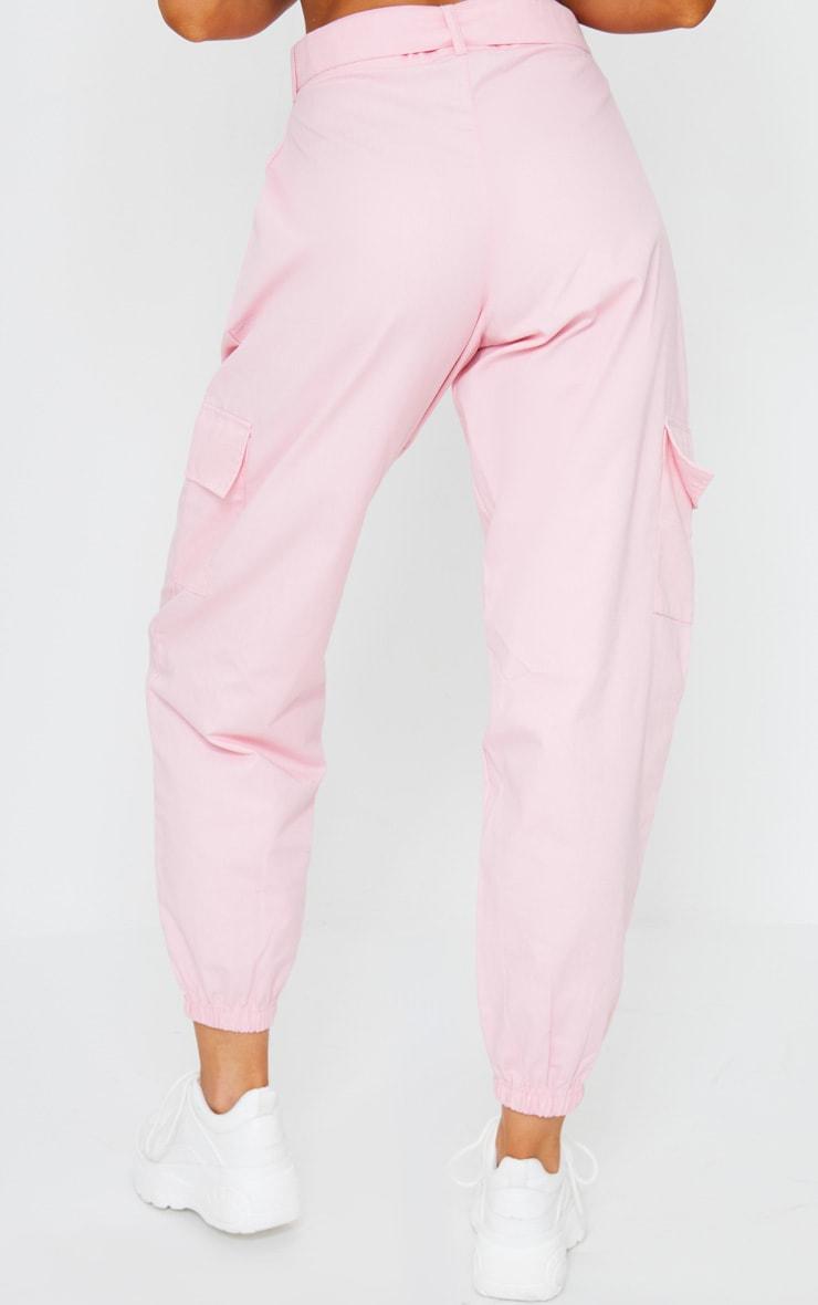 Pink Eyelet Detail Belted Cargo Pants 3