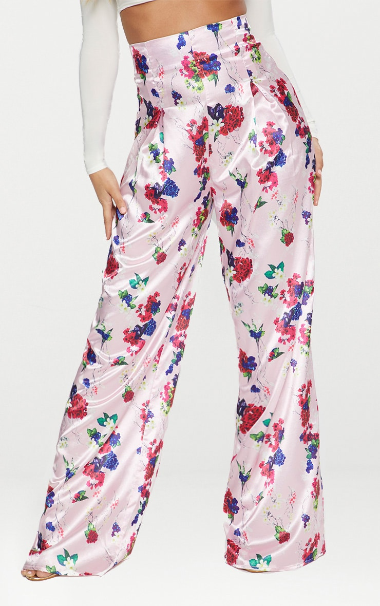 Pink Satin Floral Print High Waisted Trousers 2
