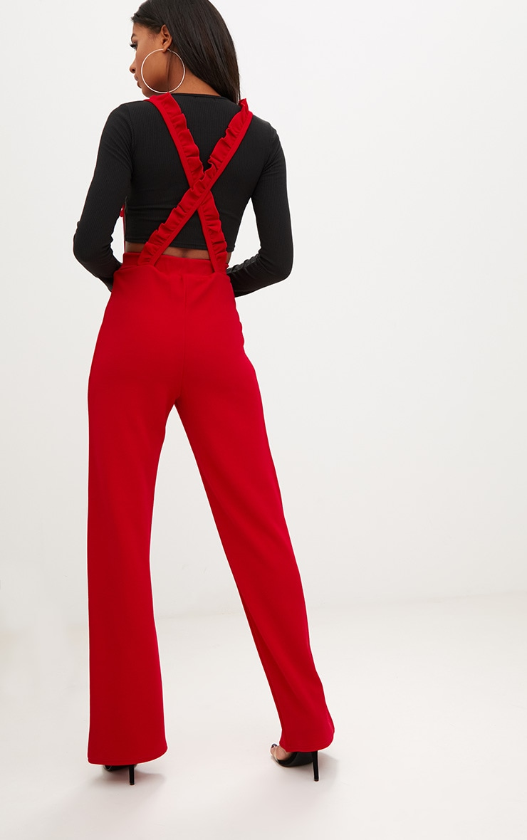 Red Frilly Brace Wide Leg Trousers 2
