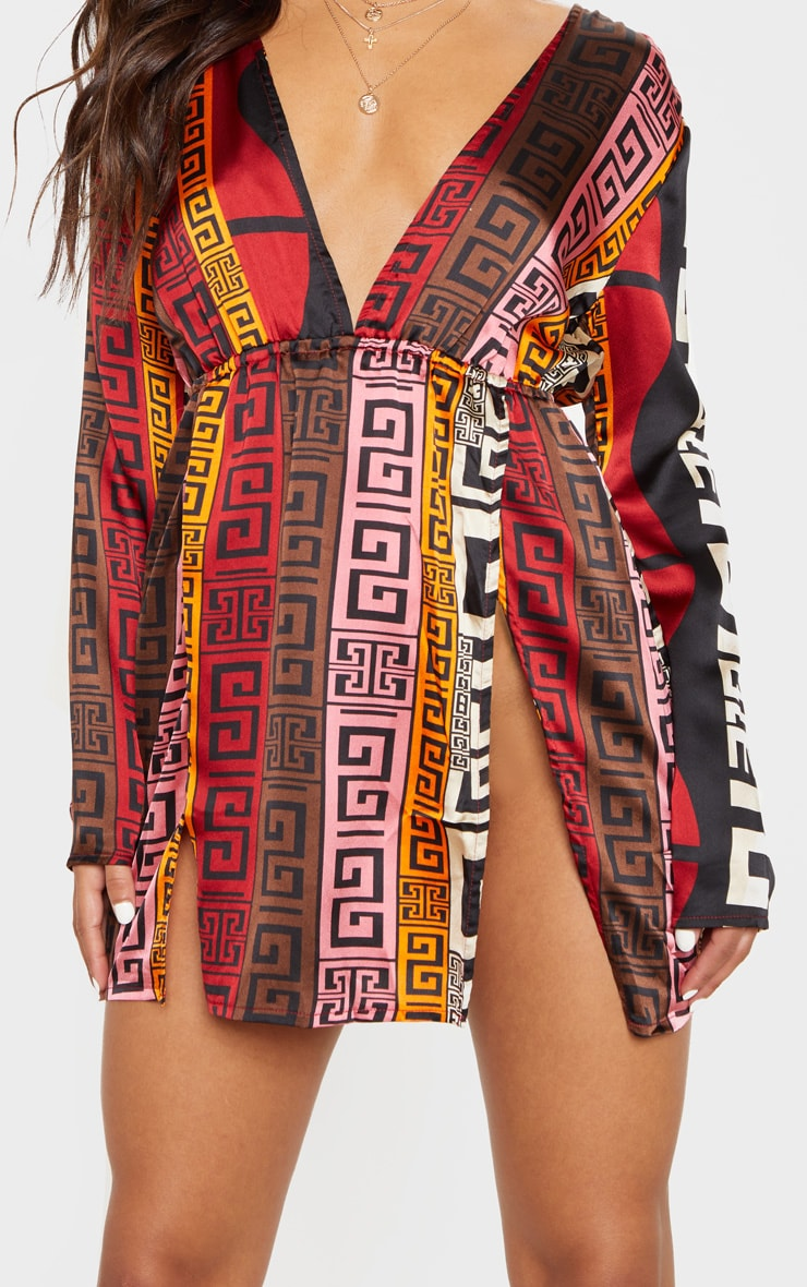 Chocolate Brown Aztec Print Plunge Split Detail Bodycon Dress 4