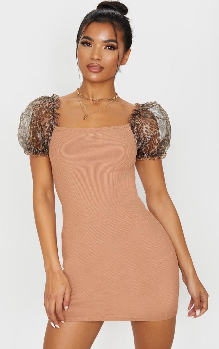Camel Organza Puff Sleeve Ribbed Bodycon Dress 1