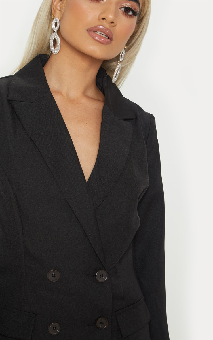 Petite Black Oversized  Button Detail Blazer 5