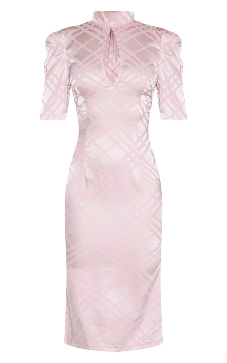 Lilac High Neck Puff Sleeve Keyhole Midi Dress 3