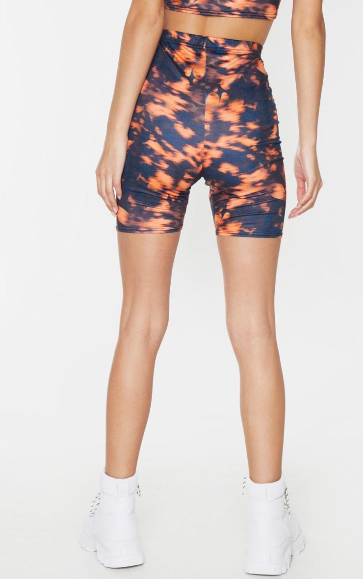 Orange Tie Dye Printed Cycling Shorts 3
