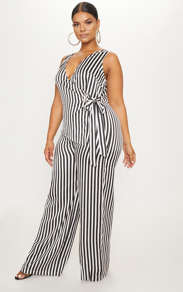 Plus Black Striped Wrap Wide Leg Jumpsuit 1