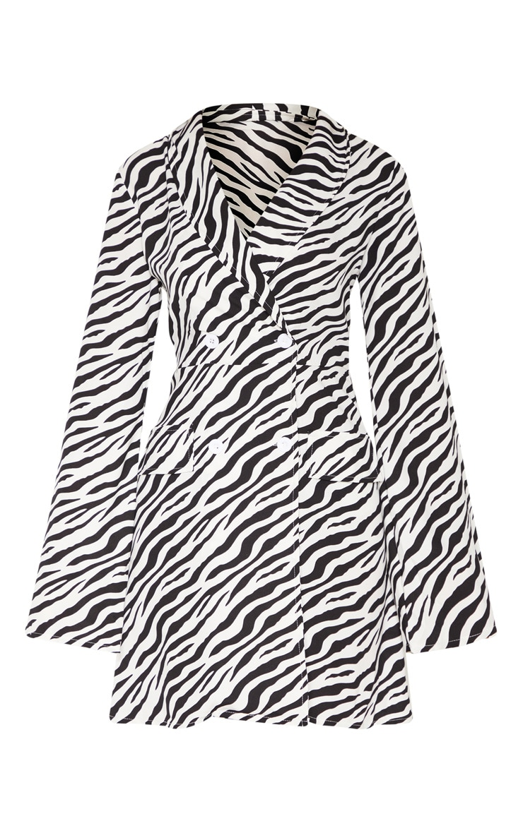 Tall Zebra Long Sleeve Blazer Double Button Dress 3