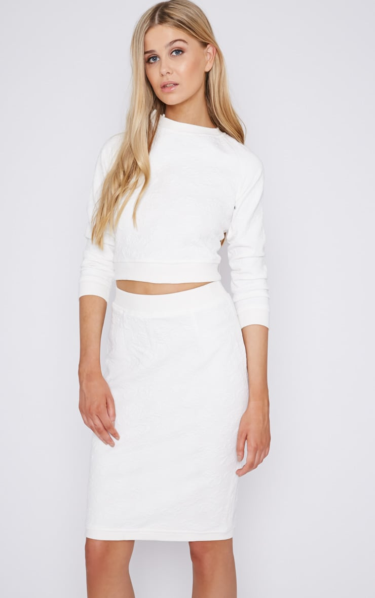 Bella White Rose Embroidered Crop Sweater  1