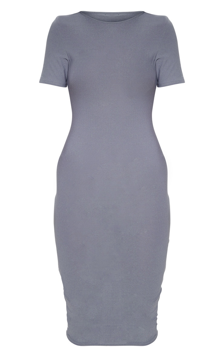 Charcoal Grey Cap Sleeve Midi Dress  3