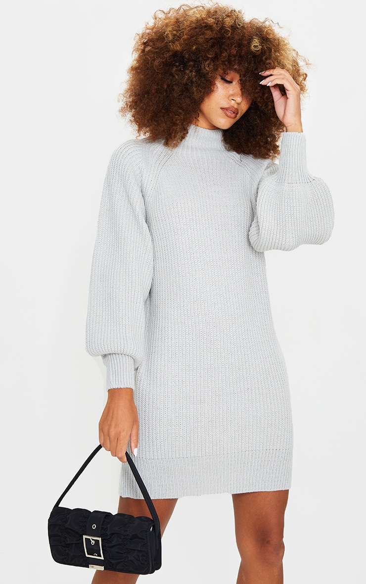 Light Grey Balloon Sleeve Funnel Neck Sweater Dress 1