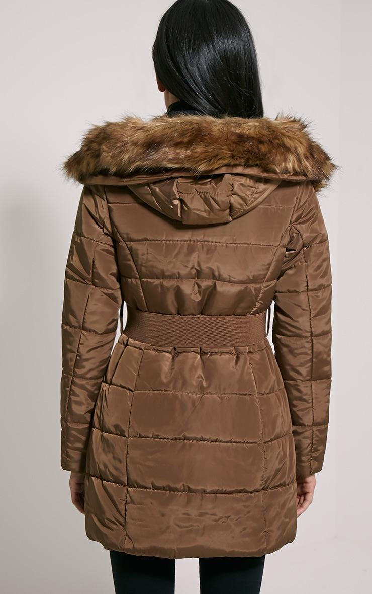 Ivanka Mocha Quilted Hooded Coat 2
