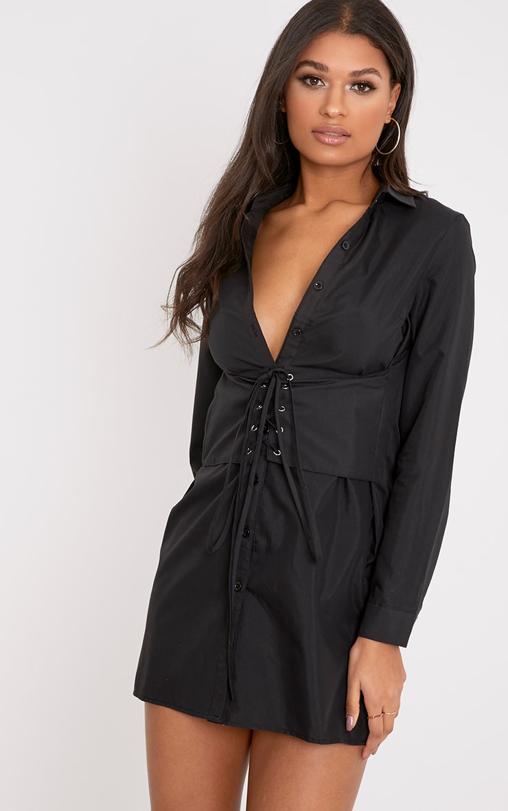 Corset Black Lace Up Open Shirt Dress 1