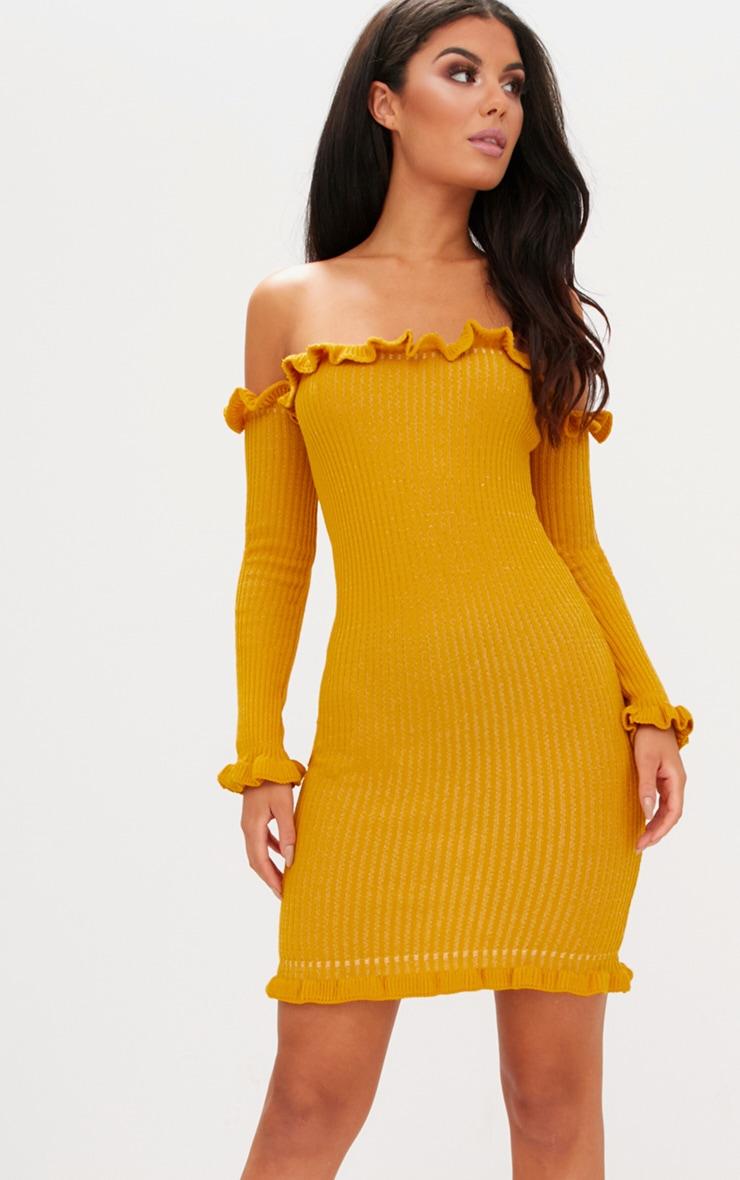 c69a65d51f3f Mustard Ruffle Detail Bardot Mini Dress image 1