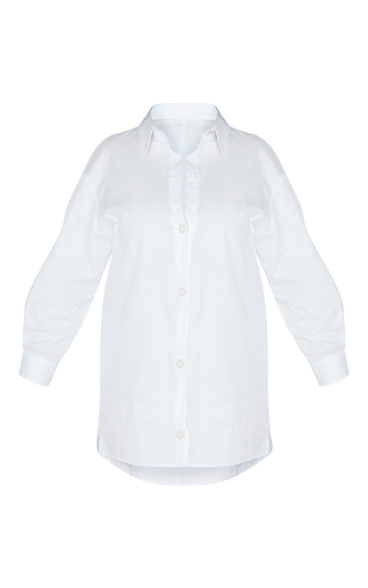 Plus White Pearl Button Oversized Shirt Dress 3