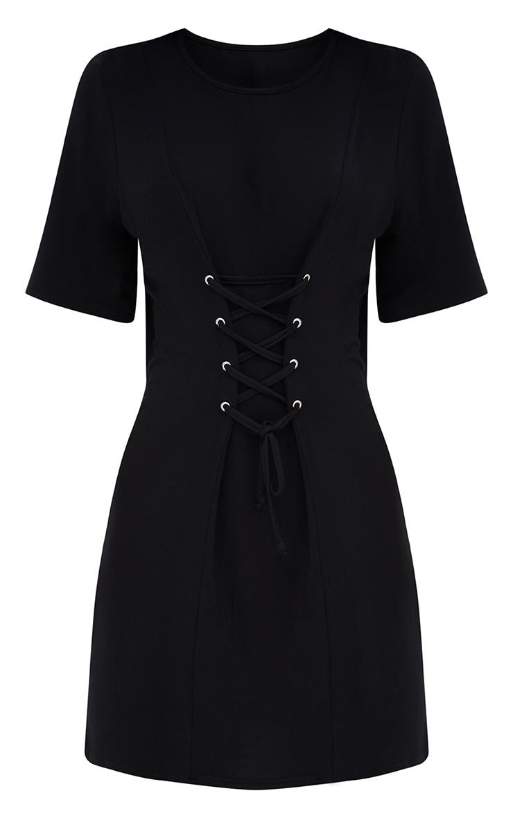 Shape Black Lace Up Front T-Shirt Dress 3