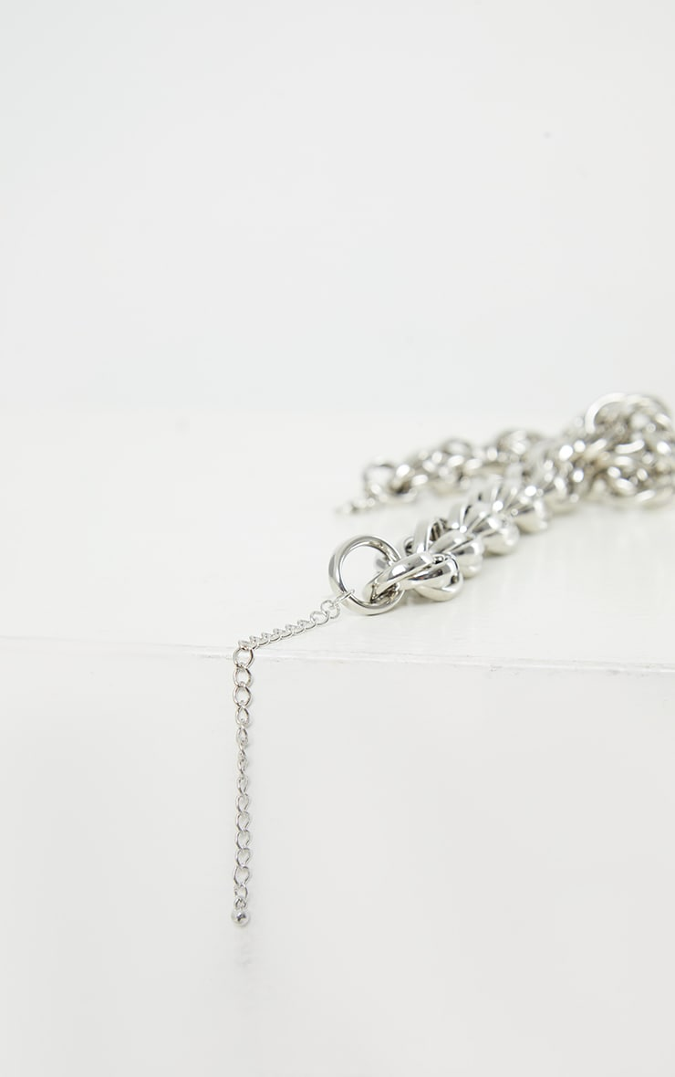 Silver Chunky Oversized Rope Chain Necklace 4