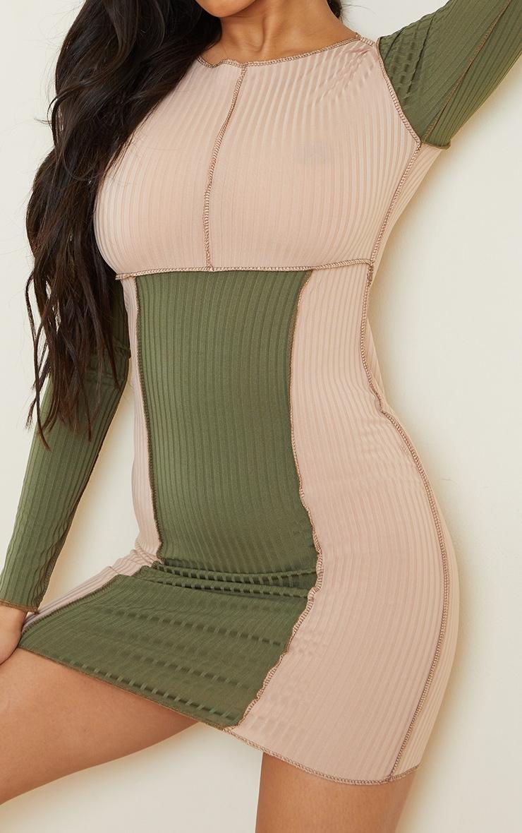 Stone Rib Contrast Stitching Patchwork Long Sleeve Bodycon Dress 4
