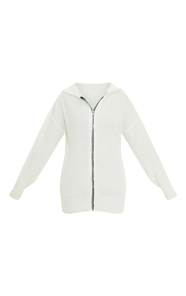 Cream Longline Knitted Zip Up Cardigan 5
